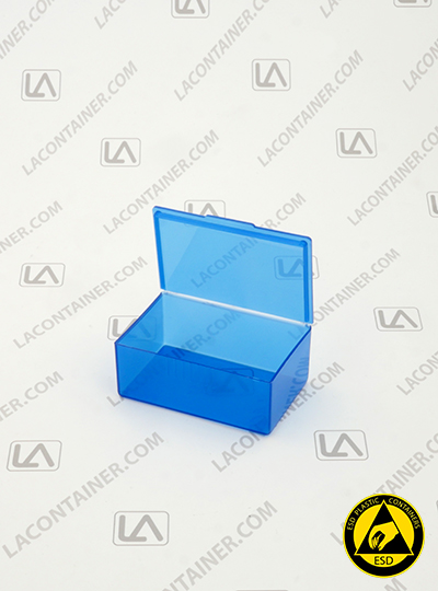Flex-A-Top®  FT-14 Blue Static Dissipative Hinged-Lid ESD Plastic Box