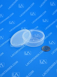 Lacons® 250950NH Round No-Hinge (Two Piece Lid) Plastic Container